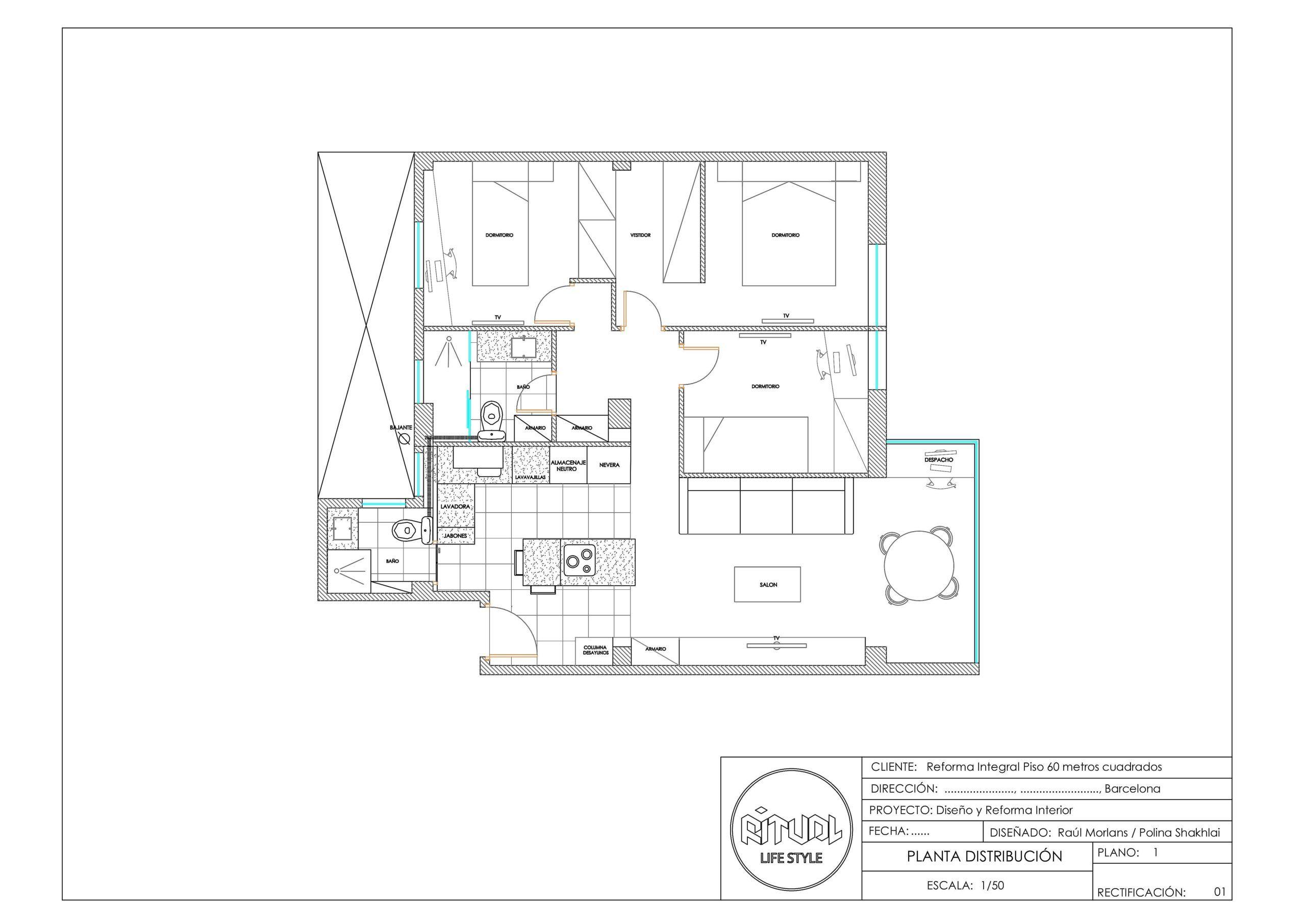 reforma integral piso 60 metros